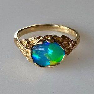 Art Nouveau 14k Vibrant Opal Ring